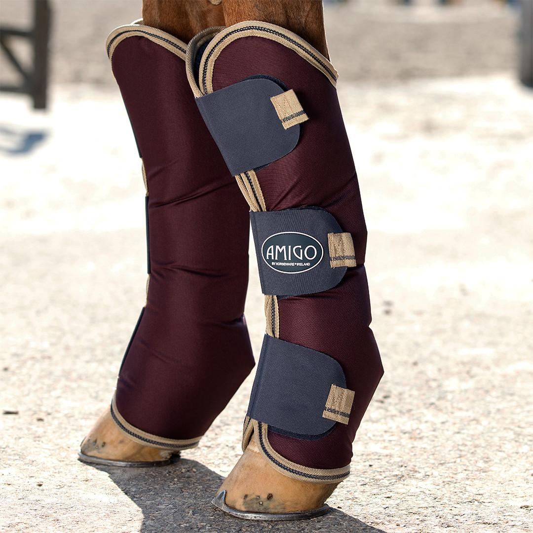 Amigo Shipping Boots , Fig/Navy/Tan, Pony