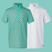Kerrits Kids Ice Fil Lite Short Sleeve Shirt, Spearmint Pinwheel & White