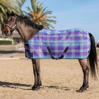 "Kensington Pony Fly Sheet With Crossed Surcingles, Lavender Mint Plaid, 51"" - 66"""