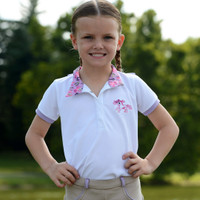 Belle & Bow Short Sleeve White Shirt with Lavender Ponies & Bows Trim, 12 Months - 5 Years