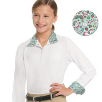 Ovation Ellie Girl's Quarter Snap Show Shirt, Unicorn Sprinkles, Sizes 6 - 12