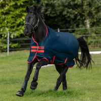 "Horseware Mio Medium Turnout Blanket, Dark Blue/Red, 45"" - 69"""