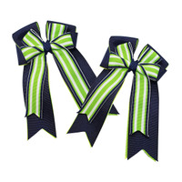 Belle & Bow Show Bows, Bellagio, Navy with White/Lime
