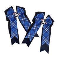 Belle & Bow Show Bows, True Blue, Navy with Blue Plaid