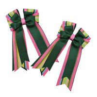 Belle & Bow Show Bows, Jimmy, Hunter with Pink/Multi Stripes