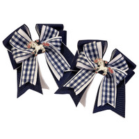 Belle & Bow SHORT TAIL Show Bows, Navy & White Smarties