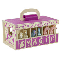 Breyer Unicorn Magic Wooden Carry Case with 6 Unicorns