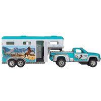 Breyer Stablemates Turquoise Pickup Truck and Gooseneck Trailer