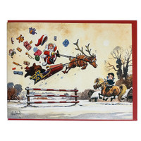 Thelwell Christmas Card, 'Show Jumping Santa', Single Card