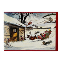 Thelwell Christmas Card, 'Santa Roundup', Single Card