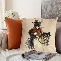 Lady Fox Throw Pillow with Peach/Coral Plaid Back