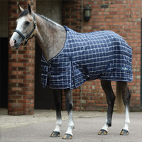 "Saxon 1200d PP Medium Stable Blanket , Navy Plaid, 48"" - 69"""