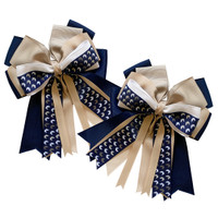 Kathryn Lily Horse Heads Show Bows, Navy/Tan/White