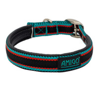 Horseware Amigo Dog Collar, Black/Teal/Dark Cherry