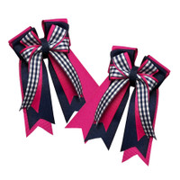 Belle & Bow Show Bows, Smartie Pants, Navy/Dark Pink with Gingham