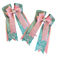 Belle & Bow Show Bows, Tiffany Pink, Aqua & Light Pink