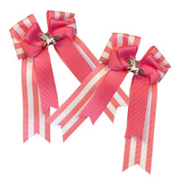 Belle & Bow Show Bows, Pink Trident, Pink & White Stripes