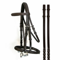 McBride Padded, Raised Bridle, English Leather, Small Pony Havana