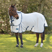 "Weatherbeeta Comfitec Airflow II Detach-A-Neck Fly Sheet, White/Blue/Sea Blue,48"" - 69"""