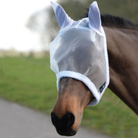 Saxon Fly Mask with Ears, White, Pony & Cob