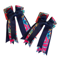 Belle & Bow Show Bows, Navy Lilly, Navy/Pink Floral