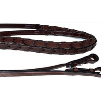 Nunn Finer Rubber Lined, Raised Fancy Stitched Pony Reins, Havana