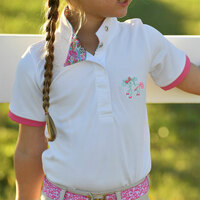 Belle & Bow Short Sleeve Show Shirt with Aqua Wellington/Pink Trim, 12 Months - 5 Years