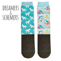 Dreamers & Schemers YOUTH 2-Pack Boot Socks, Ice Ice Unicorn/Party Shark