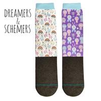 Dreamers & Schemers YOUTH 2-Pack Boot Socks, Llamacorn & Ribbon Wall