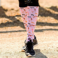 Dreamers & Schemers Boot Socks, Pair & a SPARE, Ponies on Pink