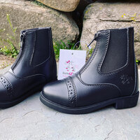 Belle & Bow Black Front Zip Paddock Boots, Little Kids Sizes 6 - 12