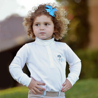 Belle & Bow Long Sleeve Show Shirt, Blue Belle Ponies, Sizes 2 - 10 Years