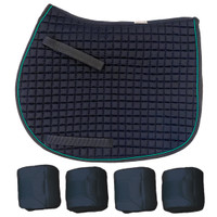 PRI Navy/Teal Quilted Pony Saddle Pad & Polos Set