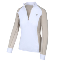 Kathryn Lily Tuxedo Block Competition Shirt, Tan/White