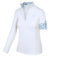 Kathryn Lily ProAir3 Long Sleeve White Shirt, Palms & Ponies, Childs XXS - L