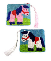 Sweet Pony Hand Beaded Coin Purse