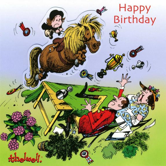Thelwell Birthday Card 'Up For The Cup
