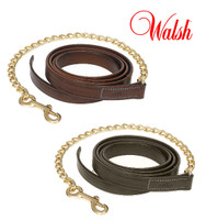 "Walsh Leather Lead with 24"" Chain, Chestnut and Havana"