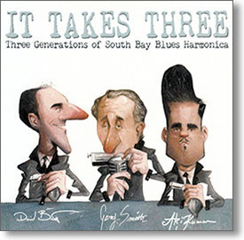 """It Takes Three"" blues CD by David Barrett, Gary Smith & Aki Kumar"