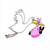 Stork with Girl Scottie Birth Announcement