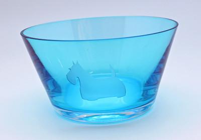 Blue Glass Scottie Bowl