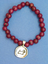 Purple Acai Bead Stretch Bracelet with Scottie Seal