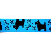 "Scotties on Blue Satin Ribbon - 5/8"""