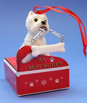 Westie with Bone Ornament