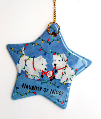Two Westies Star Ornament