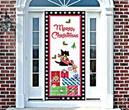 Scottie Christmas Door Cover