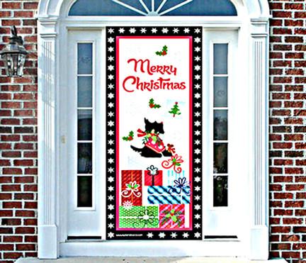 Scottie Christmas Door Cover