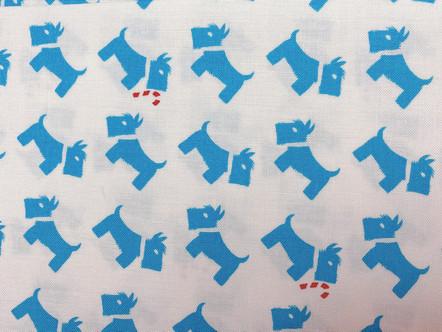 Blue Scotties Fabric