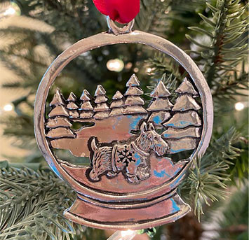 Pewter Scottie Ornament