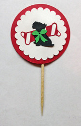 Christmas Scottie Cupcake Pick